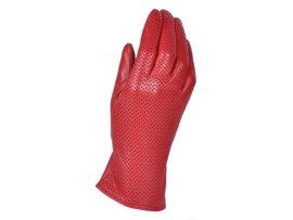Rękawiczki damskie PUCCINI D-1550 czerwone kropeczki