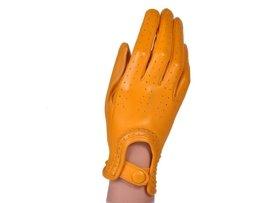 Rękawiczki damskie samochodowe -  PUCCINI D-1511 żółte całuski kropeczki