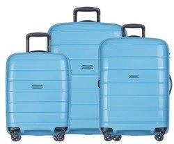 Zestaw trzech walizek PUCCINI PP013 Madagaskar błękitny