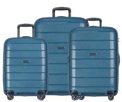 Zestaw trzech walizek PUCCINI PP013 Madagaskar turkusowy